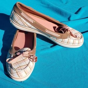 Sperry Top Sider Angelfish Plaid Pink Boat Shoes